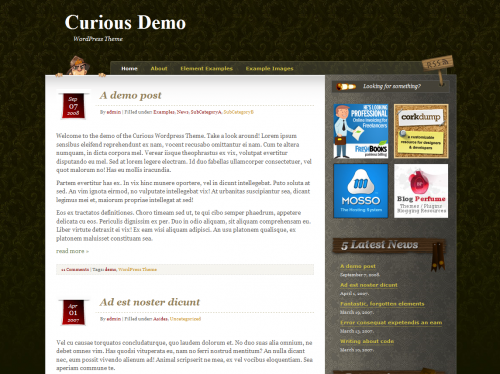 Curious wp template