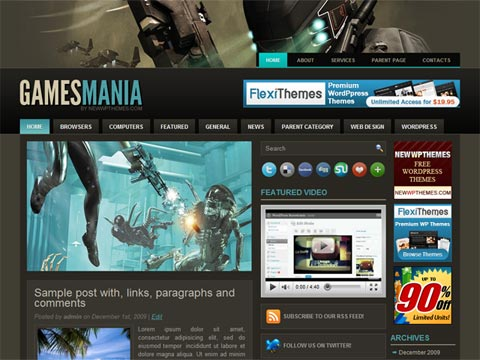 gamesmania wp template