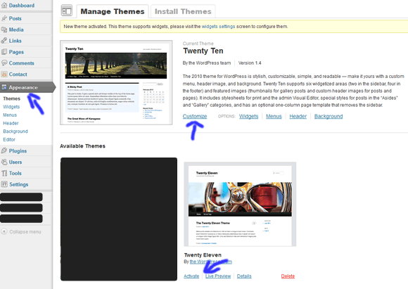 manage wordpress themes