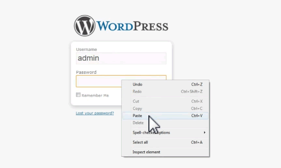 wordpress dashboard login screen