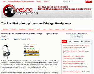 Retro headphones website product page screenshot