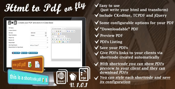 HTML To PDF on Fly for WordPress