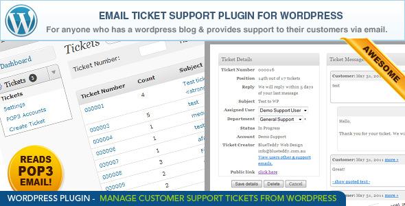 WordPress Email Ticket Support Plugin