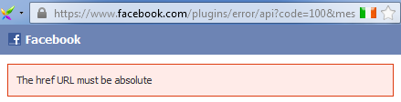 Fix for 'href URL must be absolute' Facebook Digg Digg Like Button error