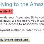Amazon Associates Program Confirmation Page