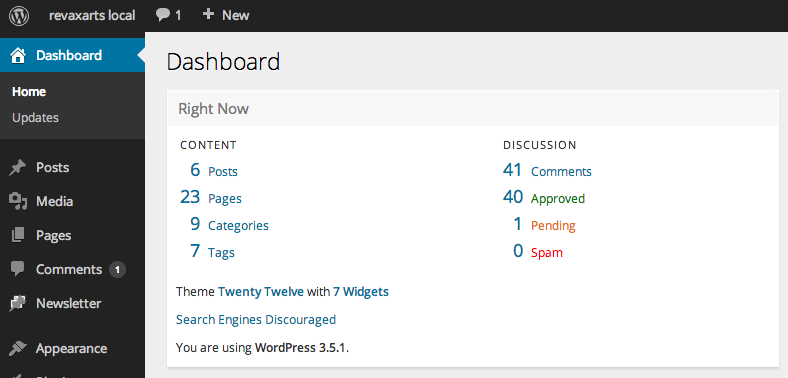new WordpRess 3.6 interface